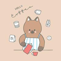 Cartone animato carino gatto e caffè vettoriale.