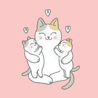 Cartone animato carino gatto mamma e bambino vettoriale.