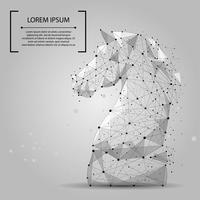 Linea di poltiglia astratta e cavallo di scacchi a punta. Illustrazione vettoriale di affari Poligonale low poly.