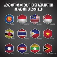 Scudo di bandiere esagonali ASEAN vettore
