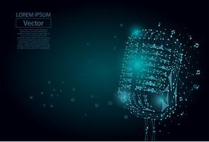 Linea di poltiglia astratta e immagine punto di un microfono. Concetto di wireframe vettoriale vintage microfono