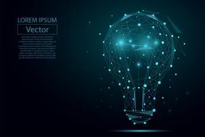 Immagine astratta di una lampadina composta da punti, linee e forme. Illustrazione vettoriale di affari Spazio poli, stelle e universo