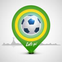 Pallone da calcio con puntatore verde vettore