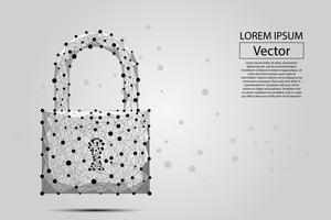 Blocco di sicurezza composto da poligoni. Concetto di business della protezione dei dati. Illustrazione vettoriale di poli basso è costituito da linee, punti, poligoni e forme. Sfondo futuristico