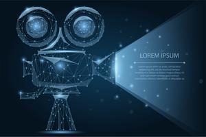 Proiettore di cinema retrò poligonale astratto. Illustrazione di vettore low poly wireframe. Tempo del film. Cinema, film, poster del festival