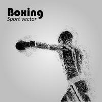 Boxer dalle particelle. Illustrazione vettoriale di boxe. Sagoma del pugile. Immagine degli atleti composta da particelle.