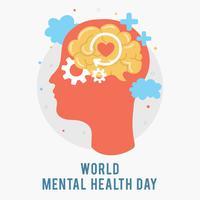 Giornata mondiale della salute mentale. Sagoma della testa di un uomo con cervello, ingranaggi, amore. Crescita mentale. Schiarisciti le idee. Pensiero positivo. Vettore - illustrazione
