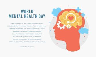 Modello di manifesto della giornata mondiale della salute mentale. Sagoma della testa di un uomo con cervello, ingranaggi, amore. Crescita mentale. Schiarisciti le idee. Pensiero positivo. Vettore - illustrazione