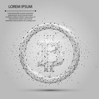 Linea e punto di mash astratta Bitcoin. Illustrazione vettoriale di affari Poligonale valuta low poly