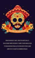 Cranio di zucchero Poster con nastro, rose rosse, candela Giorno dei morti, Dia de Los Muertos, banner con fiori messicani colorati. Festa, poster di vacanza, volantino festa, biglietto di auguri divertente - illustrazione vettoriale