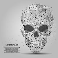 Linea astratta e punto cranio grigio. Polygonal low poly halloween background con punti e linee di collegamento. Struttura di connessione per la medicina. Illustrazione vettoriale