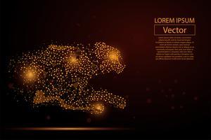 L'immagine astratta del ghepardo fatta dei punti, dei punti e della poltiglia allinea su fondo bianco con un'iscrizione. Illustrazione vettoriale di velocità rete aziendale. Poligonale, triangolo geometrico. Sfondo basso poli