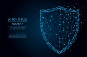 Security Shield composto da poligoni. Concetto di business della protezione dei dati. Illustrazione vettoriale di poli basso di un cielo stellato o Comos. Lo scudo è costituito da linee, punti e forme