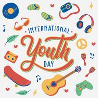Iscrizione a mano Giornata internazionale della gioventù. 12 agosto Illustrazione, musica, skateboard, chitarra, macchina fotografica, cuffia avricolare, occhiali da sole, gente, giovani disegnati a mano. Vettore - illustrazione