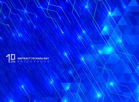 Le linee astratte di tecnologia con l'incandescenza di illuminazione futuristica sui triangoli modellano il fondo blu di pendenze.