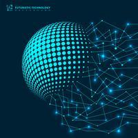 Collegamento geometrico delle linee blu della rete futuristica astratta di tecnologia con i nodi su fondo scuro