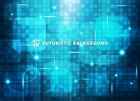 Fondo digitale futuristico di concetto virtuale astratto di tecnologia dei quadrati blu con spazio per il vostro testo.