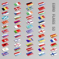 Bandiere europee isometriche vettore