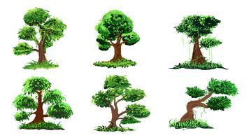 Set di alberi disegnati a mano vettore