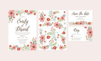 Invito a nozze fiore primavera disegnato a mano, grazie card, modello, RSVP, salva la data. Modelli stampabili con fiori, collezione di fiori. Vettore - illustrazione