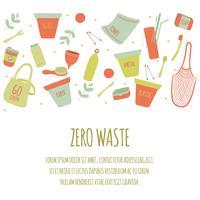 Fondo stabilito dell'icona dell'elemento dei rifiuti zero disegnato a mano. Eco Green. Senza plastica Eco Friendly. Eco Green. Eco Life. Giorno della Terra. Infografica. Vettore - illustrazione