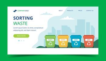 Rifiuti di smistamento pagina di destinazione con diversi bidoni della spazzatura colorati, illustrazione di concetto per il riciclaggio, gestione dei rifiuti, ecologia, sostenibilità. Illustrazione vettoriale in stile piatto