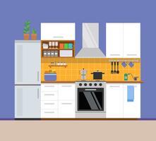 Cucina moderna, design dell'appartamento. Illustrazione vettoriale in stile piatto.