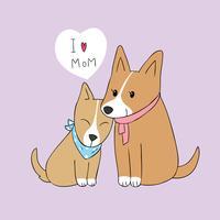 Cartone animato carino mamma e baby dog vettoriale.