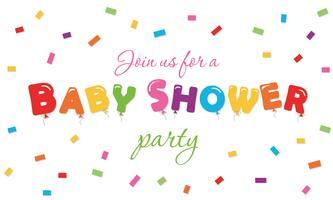 Baby doccia sfondo di festa. Banner di invito a una festa con palloncini colorati lettere e coriandoli. vettore