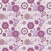 Vector seamless con sfondo floreale romantico. Sottili tinte pastello ed eleganti ornamenti lineari.