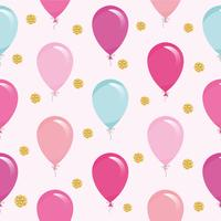 Modello senza cuciture festivo con palloncini colorati e coriandoli glitter. Per il compleanno, baby shower, design di feste. vettore