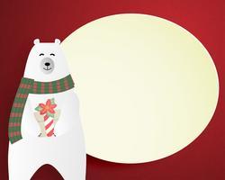 Buon Natale e felice anno nuovo biglietto di auguri in carta tagliata stile. Illustrazione vettoriale Sfondo di celebrazione di Natale. Brochure, flyer, modello di banner.