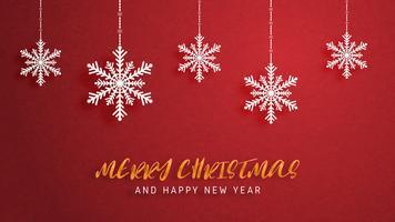 Buon Natale e felice anno nuovo biglietto di auguri in carta tagliata stile. Illustrazione vettoriale Celebrazione di Natale su sfondo rosso. Design per banner, flyer, poster, carta da parati, modello.