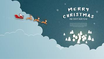 Buon Natale e felice anno nuovo biglietto di auguri in carta tagliata stile. Illustrazione vettoriale Sfondo di celebrazione di Natale. Design per banner, flyer, poster, carta da parati, modello.