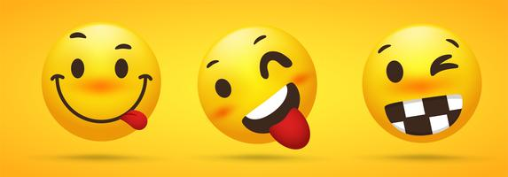 Collezione Emoji che mostra talento sfacciato, ruote ingannate e giocose su sfondo giallo. vettore