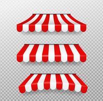 Parasoli rossi e bianchi per negozi Vettore isolato su sfondo trasparente.