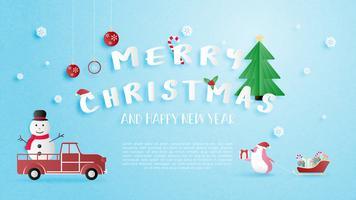 Buon Natale e felice anno nuovo biglietto di auguri in carta tagliata stile. vettore