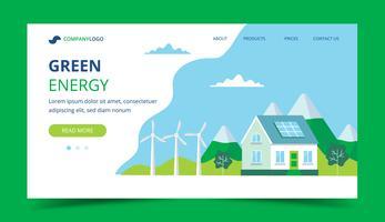 Pagina di atterraggio di energia verde con una casa con pannelli solari, turbine eoliche. Illustrazione di concetto per ecologia, energia verde, energia eolica, sostenibilità