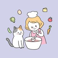 Cartone animato carino ragazza e gatto cucina vettoriale.