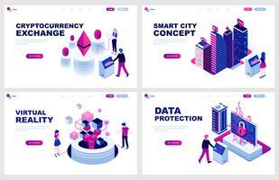 Set di modello di pagina di destinazione isometrica per Criptovaluta, Smart City, Realtà virtuale, Protezione. I concetti isometrici dell'illustrazione moderna di vettore hanno decorato il carattere della gente per lo sviluppo del sito Web.