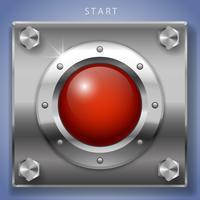 Grande accensione a pulsante rotondo rosso vettore