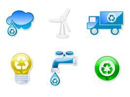 Set di icone riciclabili vettore