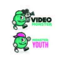 Disegni di logo mascotte simpatico personaggio mostro vettore