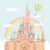 Vettore magico dell'illustrazione di Baloon dell'aria calda del castello