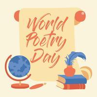 Giorno di poesia del mondo di calligrafia dell'iscrizione della mano - Vector l'illustrazione - vettore