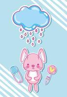 Cartoni animati di coniglietti carini vettore