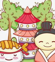Cartoni animati kawaii carino gastronomia giapponese vettore