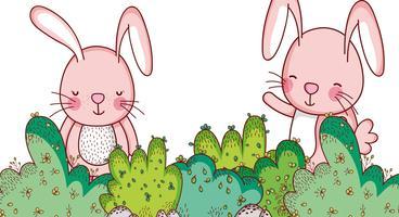 Coniglietti nei cartoni della foresta vettore