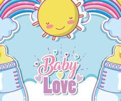 Carta di amore bambino con cartoni animati carini vettore