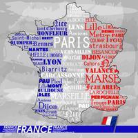 Mappa del testo della mappa di Francia vettore
